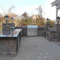 Complex outdoor kitchen island cover
